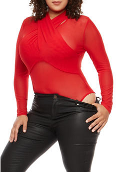 Plus Size Twist Front Mesh Bodysuit - RED - 1924069395098