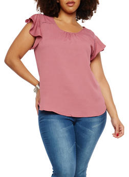Plus Size Flutter Sleeve Top - 1924069395110