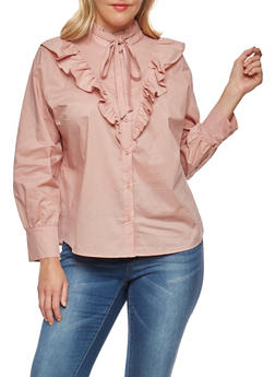 Plus Size Ruffle Button Front Shirt - 1924069395140