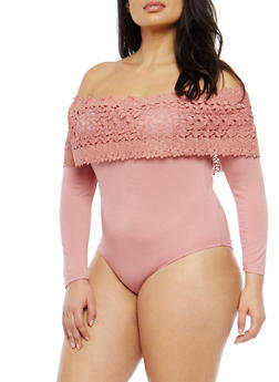 Plus Size Crochet Trim Off the Shoulder Bodysuit - 1924069395156