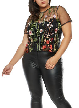 Plus Size Floral Embroidered Mesh T Shirt - 1924069397641