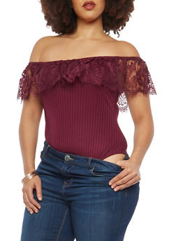 Plus Size Rib Knit Lace Off the Shoulder Bodysuit - 1924069398299