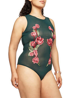 Plus Size Mesh Bodysuit with Floral Applique - 1924069398928
