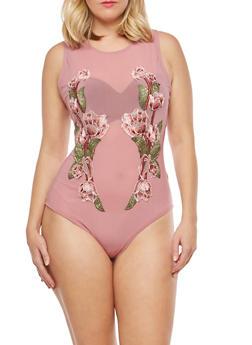 Plus Size Mesh Bodysuit with Floral Applique - 1924069398928