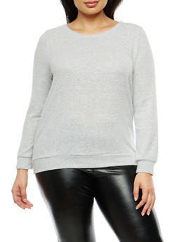 Plus Size Soft Knit Top with Caged Back Detail - 1924069399442