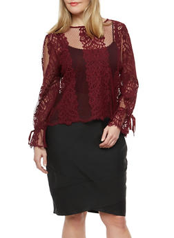 Plus Size Lace Cinched Bubble Sleeve Top - 1924069399519