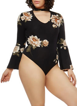 Plus Size Floral Bell Sleeve Thong Bodysuit - 1924069399552