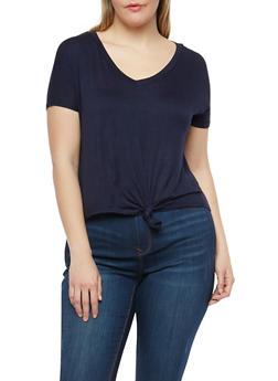Plus Size Knot Front T Shirt - 1924069399585