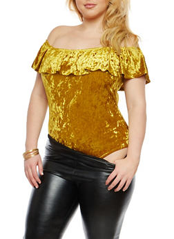 Plus Size Crushed Velvet Off the Shoulder Bodysuit - GOLD - 1924069399777