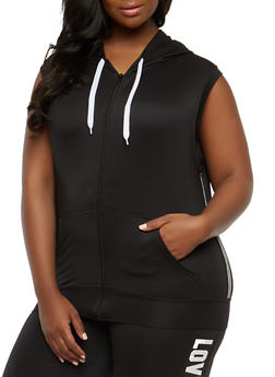 Plus Size Side Stripe Hooded Sleeveless Top - 1924072290110