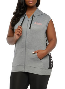 Plus Size Love Graphic Hooded Zip Top - 1924072290520