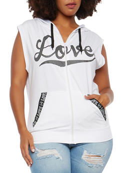 Plus Size Love Graphic Hooded Activewear Top - 1924072291112