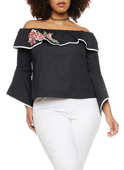 Plus Size Embroidered Off the Shoulder Top with Contrast Trim - BLACK/WHITE - 1925054212027