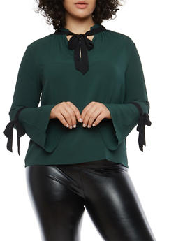 Plus Size Bell Sleeve Contrast Trim Blouse - 1925054213216