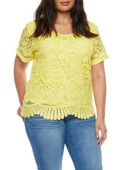 Plus Size Short Sleeve Scallop Hem Crochet Top - 1925064463108