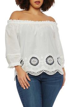 Plus Size Crochet Trim Off the Shoulder Top - 1925069390131