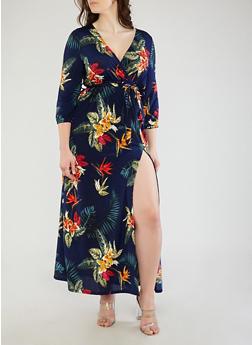 Plus Size Printed Faux Wrap Maxi Dress - 1925069390393