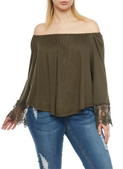 Plus Size Off the Shoulder Top with Crochet Trim - 1925069390750