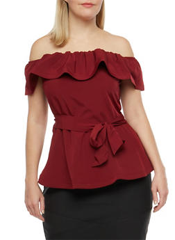 Plus Size Off the Shoulder Belted Peplum Top - 1925069391299