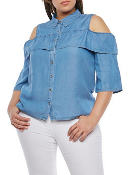 Plus Size Cold Shoulder Denim Top - 1925069391359