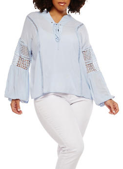 Plus Size Lace Up Crochet Insert Top - 1925069391530