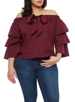Plus Size Off the Shoulder Tier Sleeve Top - 1925069391650
