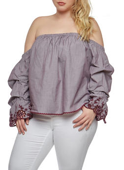 Plus Size Embroidered Bell Sleeve Off the Shoulder Top - 1925069391651