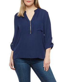Plus Size Zip Neck Blouse - 1925069391652