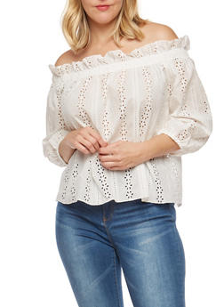 Plus Size Eyelet Off the Shoulder Top - WHITE - 1925069391671