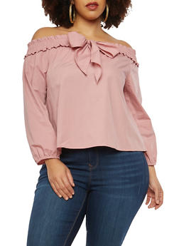Plus Size Bow Tie Front Off the Shoulder Top - 1925069391688