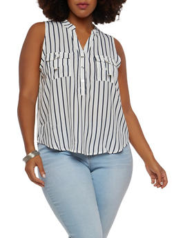 Plus Size Striped Sleeveless Top - 1925069393639