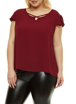 Plus Size Crepe Knit Caged Detail Top - 1925069396074
