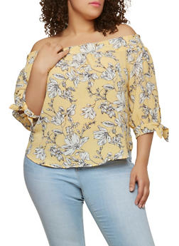 Plus Size Off the Shoulder Striped Floral Top - 1925069397689