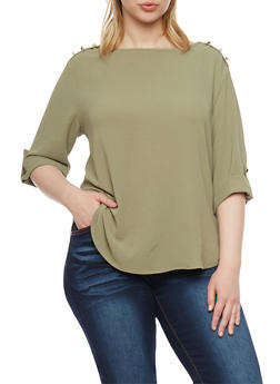 Plus Size 3/4 Sleeve Top with Shoulder Buttons - OLIVE - 1925069397708