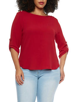 Plus Size 3/4 Sleeve Top with Shoulder Buttons - BURGUNDY - 1925069397708
