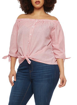 Plus Size Striped Tie Sleeve Off the Shoulder Top - 1925069398536