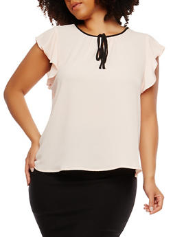 Plus Size Crepe Knit Tie Neck Top - 1925069398774