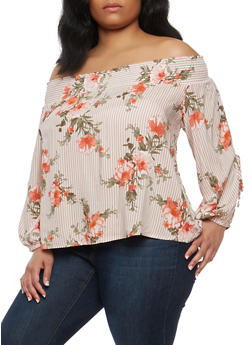 Plus Size Striped Off the Shoulder Slit Sleeve Top - 1925069398902