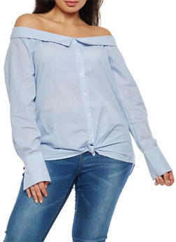 Plus Size Striped Off the Shoulder Button Front Shirt - 1925069399212