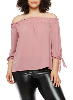 Plus Size Tie Sleeve Off the Shoulder Top - 1925069399220