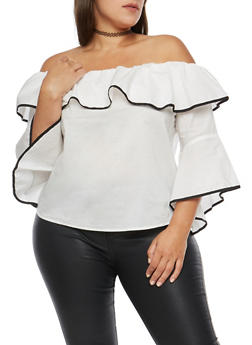 Plus Size Off the Shoulder Contrast Trim Top - 1925069399276