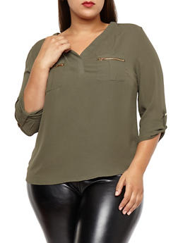 Plus Size Zip Pocket Blouse - 1925069399357