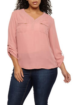 Plus Size Zip Pocket Blouse - 1925069399357