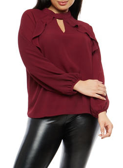 Plus Size Crepe Knit Ruffle Front Top - 1925069399364