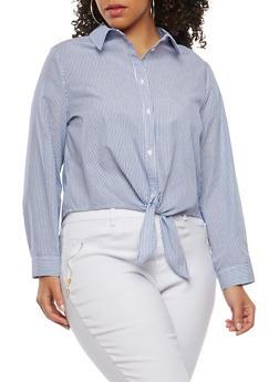Plus Size Striped Tie Button Front Shirt - 1925069399380