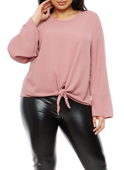 Plus Size Knot Front Crepe Knit Top - 1925069399434