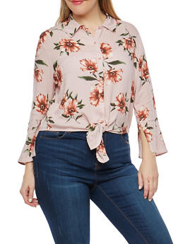 Plus Size Floral Striped Tie Front Top - 1925069399467