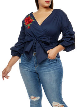 Plus Size Tiered Sleeve Wrap Front Top - 1925069399476