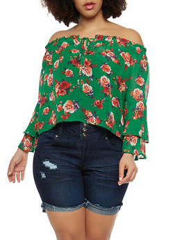 Plus Size Floral Chiffon Off the Shoulder Top - 1925069399691