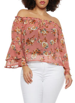 Plus Size Floral Chiffon Off the Shoulder Top - 1925069399691